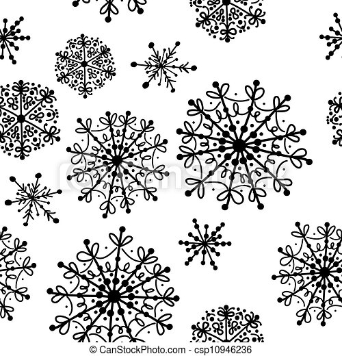Seamless pattern with winter snowflakes for your design - csp10946236