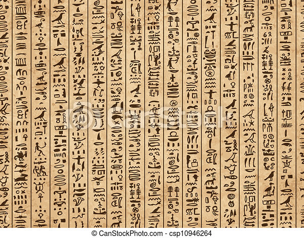 Egypt hieroglyphs, grunge seamless pattern for your design - csp10946264