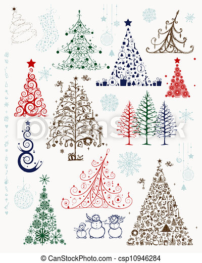 Set of christmas trees and decorations for your design - csp10946284