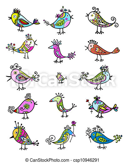 Set of funny colorful birds for your design - csp10946291