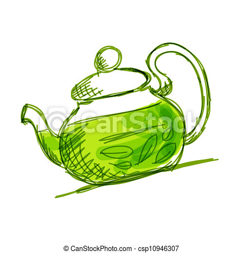 Teapot Sketch With Green Tea For Royalty Free Stock