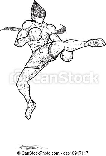 Muay thai kick drawing
