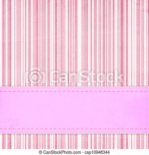 Card invitation  template for baby shower, wedding or birthday with  pink stripes - csp10948344