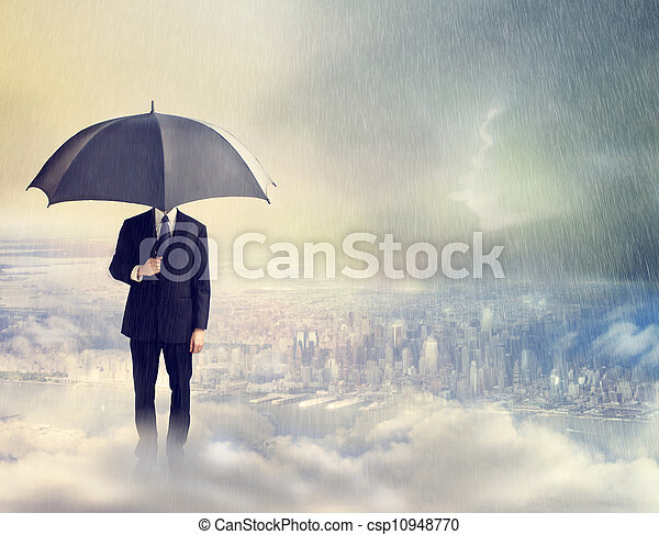 Man with Umbrella Above the City - csp10948770