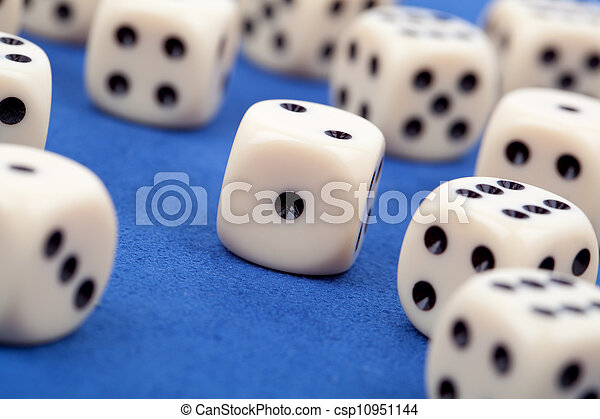 gambling dices on blue background - csp10951144