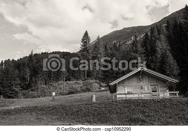 Typical Wooden Home of Dolomites - Italian Mountains - csp10952290