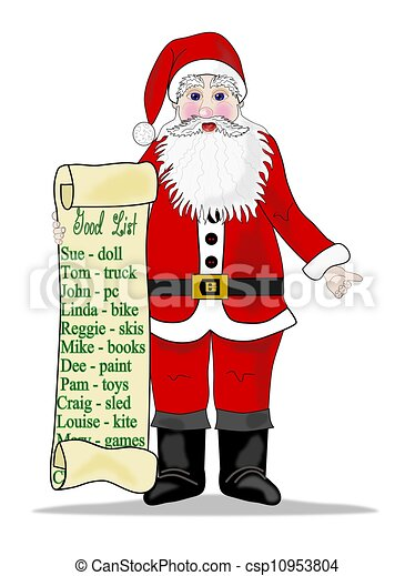 Stock illustration of santa with list illustration of for Painting name list