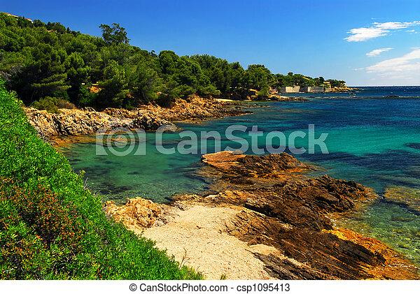 Mediterranean coast of French Riviera - csp1095413