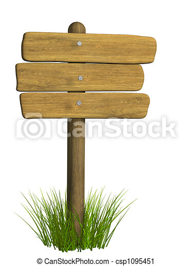 Wooden signboard from three boards - csp1095451