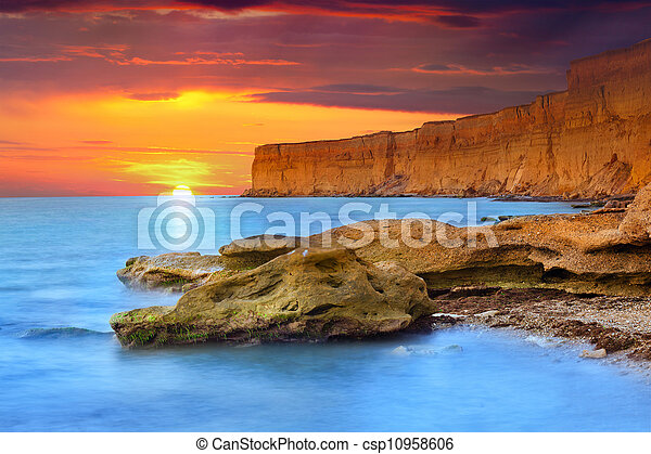 Beautiful summer seascape. Sunrise