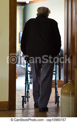 Elderly man use a walker (walking frame)  - csp10960157