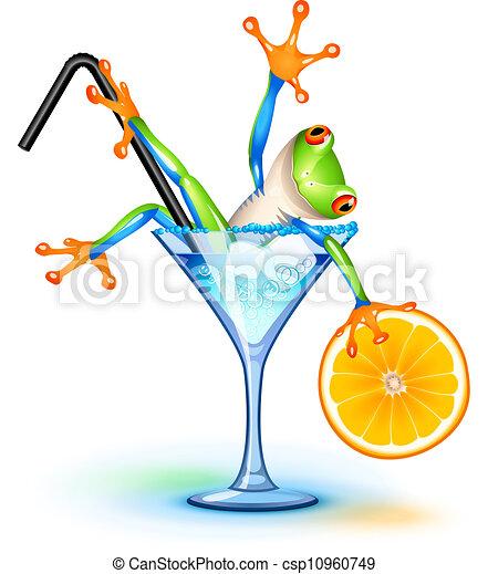 Vecteur eps de cocktail grenouille tree grenouille dans blue lagoon csp10960749 - Dessin cocktail ...