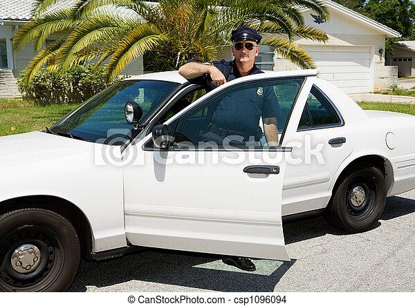 Police - Officer & Police Car - csp1096094