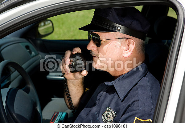 Police Officer on Radio - csp1096101