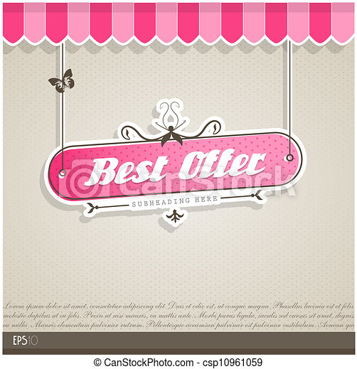 Vintage vector background with place for your text. - csp10961059