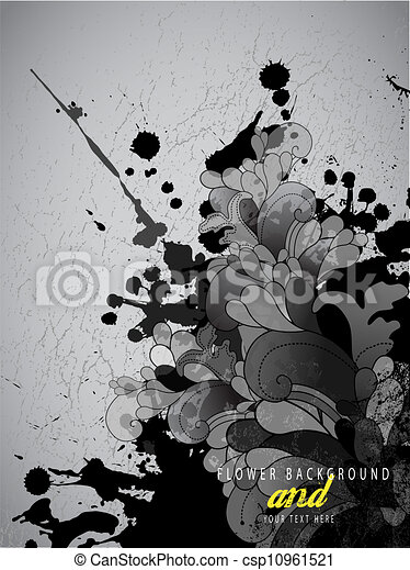 Abstract splash background with flower pattern and place for your text. - csp10961521