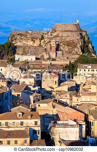 Aerial view from New fortress Kerkyra, Corfu island, Greece - csp10962032