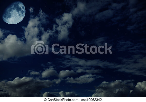 Night blue cloudy sky with stars and a moon  - csp10962342