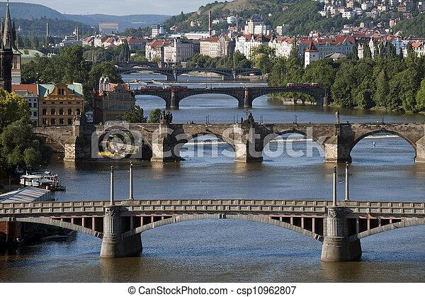 Prague - Vltava River and bridges - csp10962807