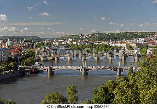 Prague - panoramic view with Vltava River and bridges - csp10962870