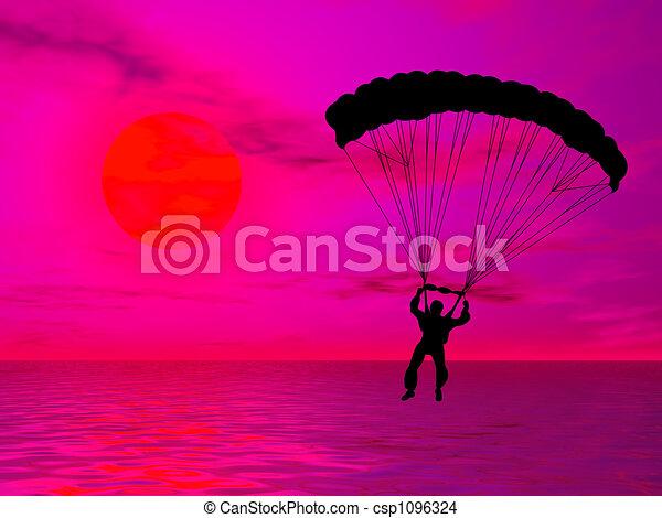 Dessin de parachutiste silhouette contre color - Dessin parachutiste ...