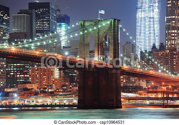 New York City Brooklyn Bridge closeup  - csp10964531