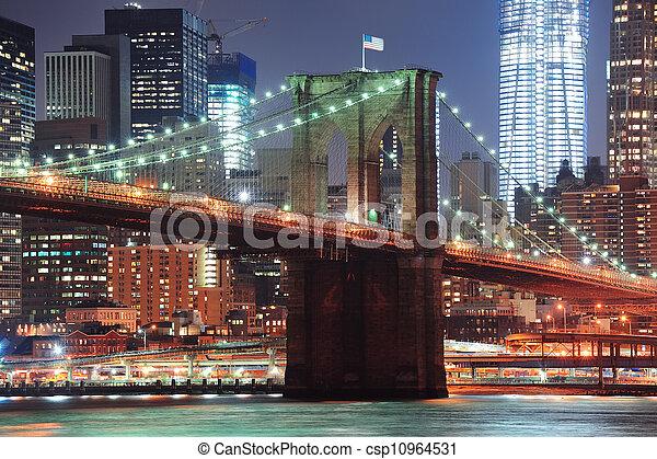 New York City Brooklyn Bridge closeup  - csp10964531