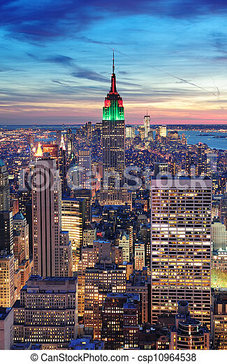 New York City Manhattan skyline aerial view - csp10964538