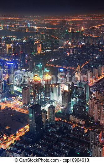 Shanghai night aerial view - csp10964613