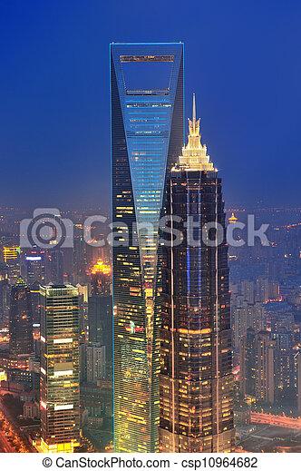Shanghai aerial at dusk - csp10964682