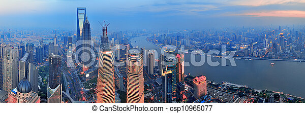 Shanghai aerial at sunset - csp10965077