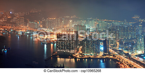 Hong Kong aerial night - csp10965268