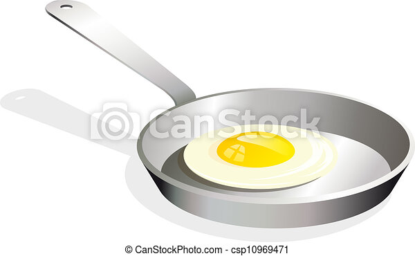 Fried egg on the frying-pan - csp10969471