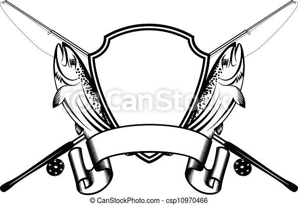 Clip art vecteur de travers peche attirail truite - Dessin truite ...