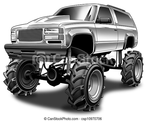 Stock Illustration Of 4x4 Mudder Black Line And Gray