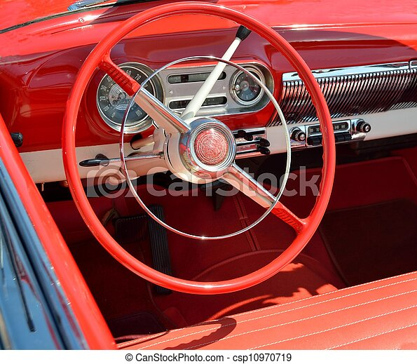 stock photography of classic car interior classic 1950 39 s style car with red csp10970719. Black Bedroom Furniture Sets. Home Design Ideas