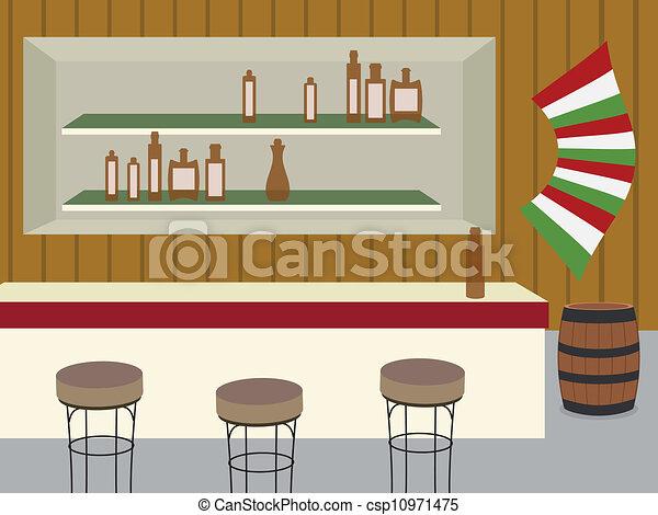 Ilustraciones vectoriales de bar interior de barra for Barra bar madera dibujo