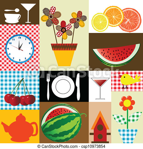 Clipart Vector Of Kitchen Table Cloth Design Csp10973854