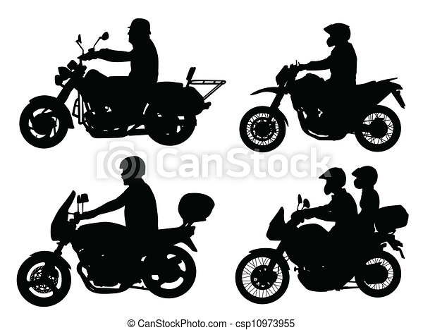 motorcyclist silhouettes - csp10973955