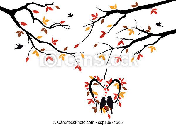 birds on autumn tree in heart nest - csp10974586