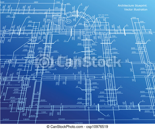 Architecture blueprint background. Vector - csp10976519