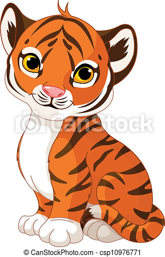 Vectors Illustration of Cute tiger cub - Illustration of ...