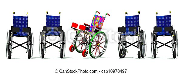 Funny and happy colorful wheelchair - csp10978497