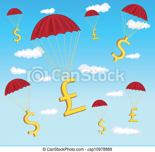 illustration of dollar and pound in parachute - csp10978889