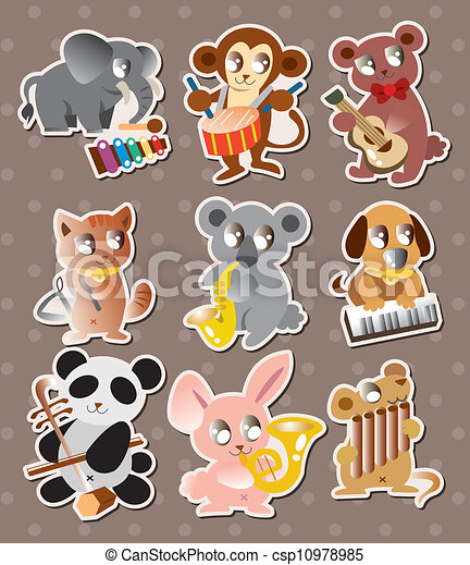 animal play music stickers - csp10978985