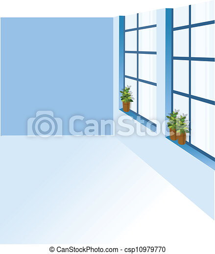 A potted plant on a window sill - csp10979770