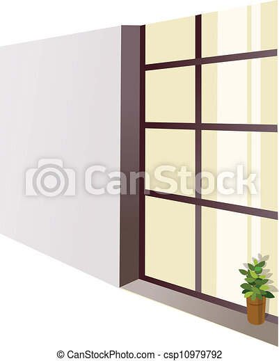 A flowerpot on a window sill - csp10979792