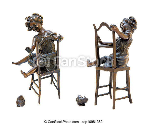 Antique bronze figurine depicting a girl sitting on a chair and playing with cat. - csp10981382