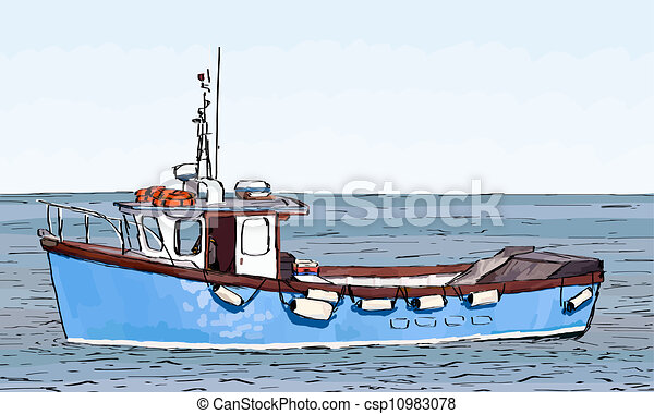 Vectors Illustration of Boat Sketch with fill - Hand Sketched drawing ...