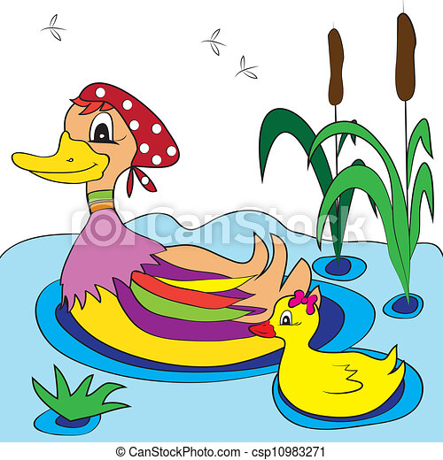 Illustrations vectoris es de couleur page canard - Illustration canard ...